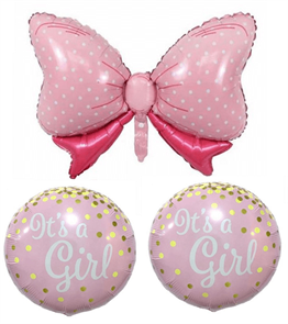 Its a Girl Fiyonk Folyo Balon 3lü Set 45cm - 90cm